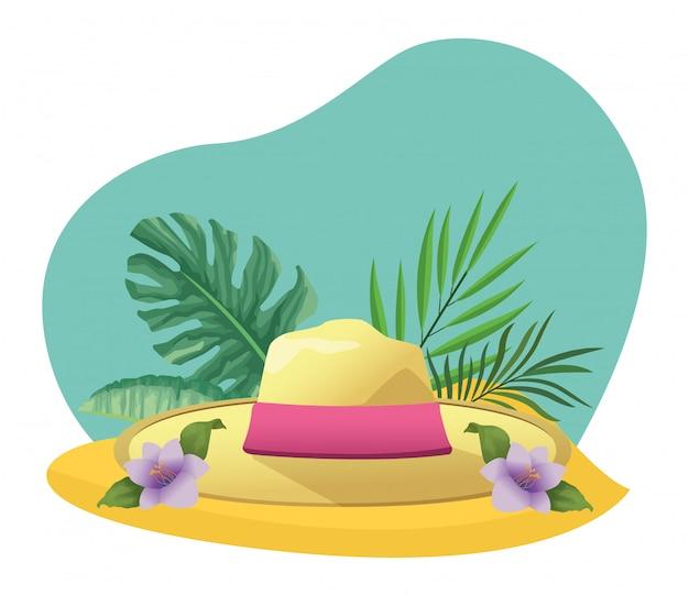 Chapeau d'été avec feuillage tropical