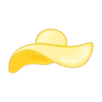 Chapeau d'été jaune pour la plage dans un style dessin animé mignon. illustration vectorielle isolée sur fond blanc.
