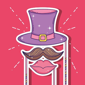 Chapeau de fête avec costume moustache et bouche