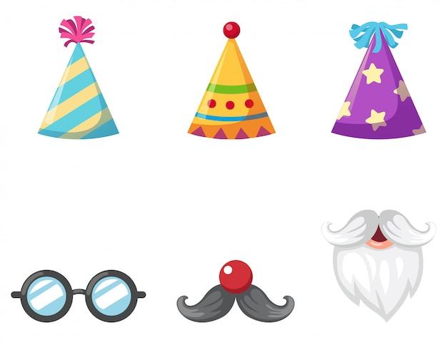 Chapeau de fête et lunettes et moustache isolé illustration