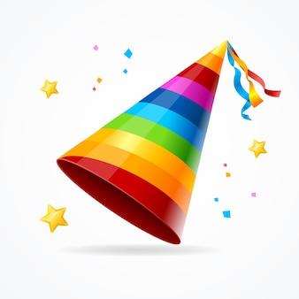 Chapeau de fête réaliste avec un motif arc-en-ciel et un accessoire d'étoiles pour les vacances de célébration. illustration vectorielle
