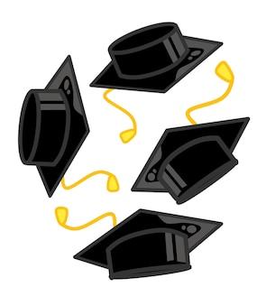 Chapeau de graduation ou élément de conception d'éducation de vecteur de conseil de mortier isolé