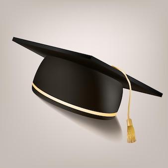 Chapeau de graduation isolé sur blanc