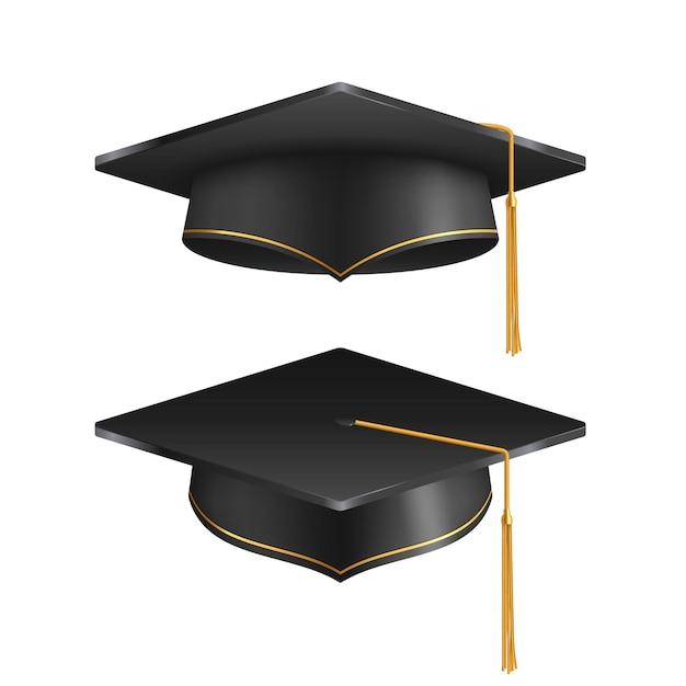 Chapeau de graduation isolé sur fond blanc