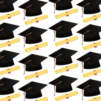 Chapeau de graduation et modèle de certificat de volutes