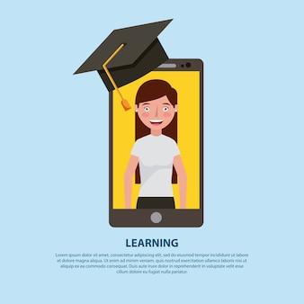Chapeau de graduation de professeur de smartphone apprentissage de l'éducation en ligne