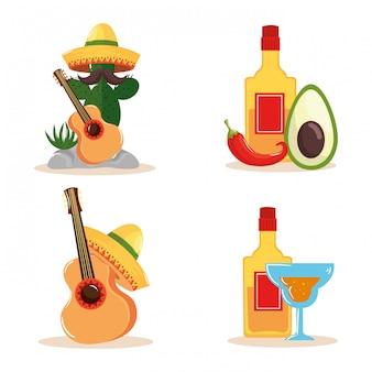 Chapeau de guitare cactus mexicain bouteille de tequila avocat piment et cocktail