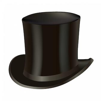 Chapeau haut de forme isolé sur blanc