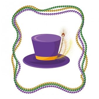 Chapeau haut de forme avec des perles