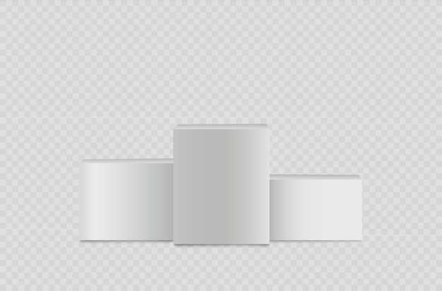 Chapeau haut de forme réaliste blanc, stand vide, podium carré.