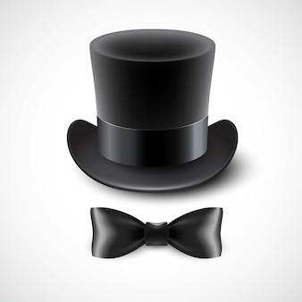 Chapeau haut de forme vintage et noeud papillon. illustration