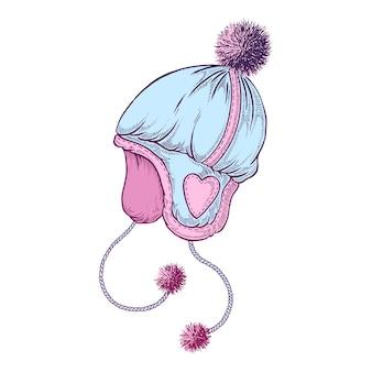 Chapeau d'hiver dessiné à la main.