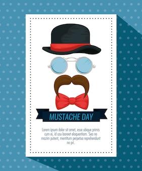 Chapeau homme avec lunettes et carte moustache