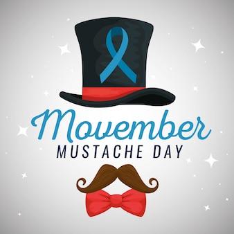 Chapeau homme avec ruban bleu et moustache