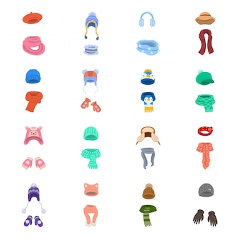Chapeau de jeu d'icônes de dessin animé écharpe