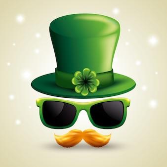 Chapeau de jour de st patrick avec des lunettes de soleil et moustache