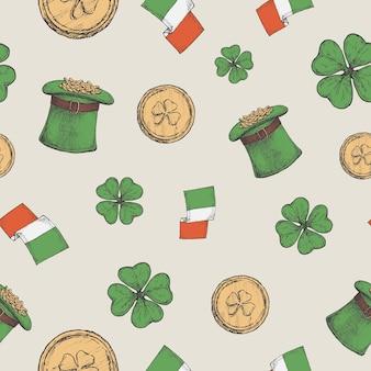 Chapeau de lutin dessiné à la main avec des pièces d'or et des drapeaux irlandais
