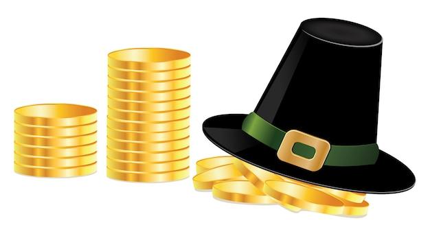 Chapeau de lutin et pièces de monnaie