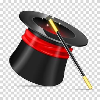Chapeau de magicien avec baguette