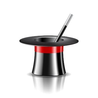 Chapeau magique et baguette magique sur fond blanc. illustration vectorielle