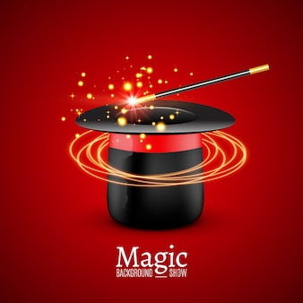 Chapeau magique avec baguette magique. performance magicien. arrière-plan du spectacle wizzard