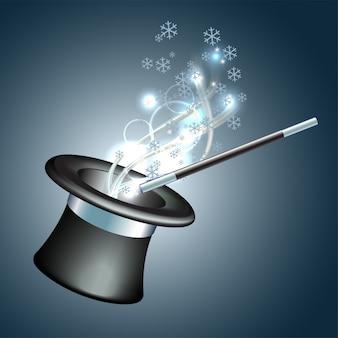 Chapeau magique avec la lueur et les flocons de neige