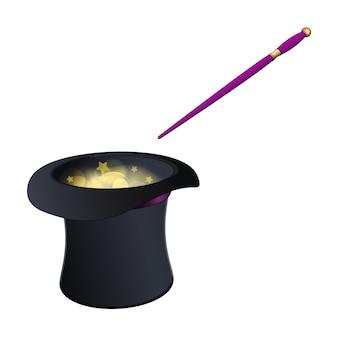 Chapeau magique noir avec baguette or et rose