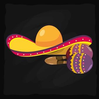 Chapeau de mariachi et maracas