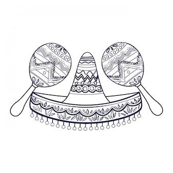 Chapeau mexicain avec icône isolé maraca