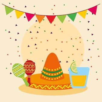 Chapeau mexicain et illustration de maracas, tourisme culturel mexicain emblème latin et illustration de fête