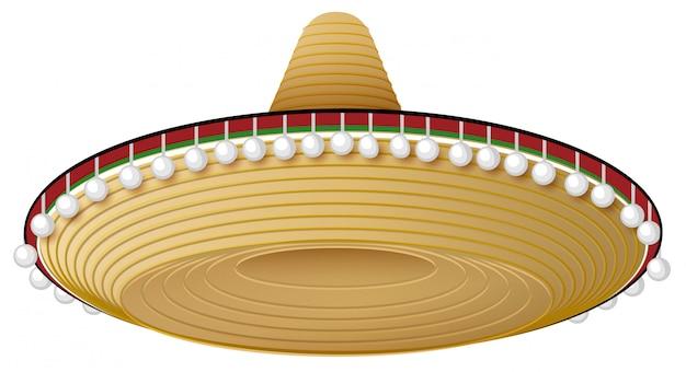 Chapeau mexicain en paille à large bord et décorations