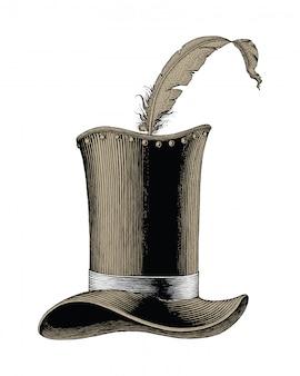 Chapeau de mode vintage illustration de gravure dessinée à la main