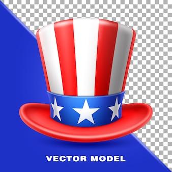 Chapeau de l'oncle sam américain drapeau de l'amérique jour de l'indépendance des états-unis 4 juillet