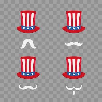 Le chapeau de l'oncle sam. symbole de liberté et de liberté. bandeau mignon de dessin animé avec une moustache. illustration vectorielle isolée sur damier transparent.