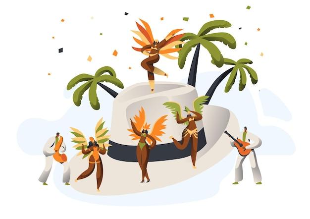 Chapeau de paille de caractère latino de carnaval de samba brésilien.