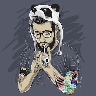 Chapeau de panda fumé barbu tatoué par monsieur