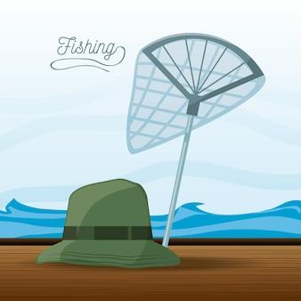 Chapeau et pêche au filet