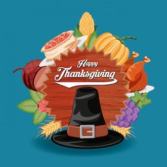 Chapeau de pèlerin avec cadre du jour de thanksgiving