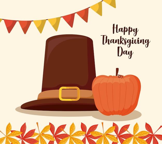 Chapeau de pèlerin du jour de thanksgiving avec citrouille