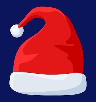 Chapeau de père noël rouge isolé sur fond bleu. bonnet avec fourrure et pompon. décoration de bonne année. joyeux noël vêtements de vacances. fête du nouvel an et de noël. illustration vectorielle dans un style plat