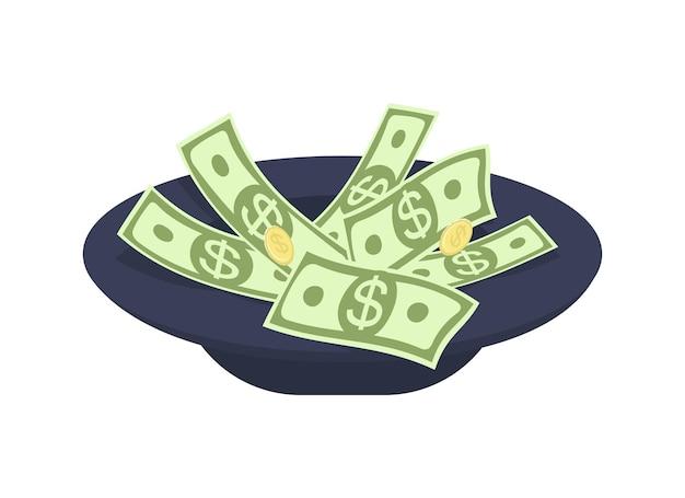 Chapeau pour collecter de l'argent objet vectoriel couleur semi-plat
