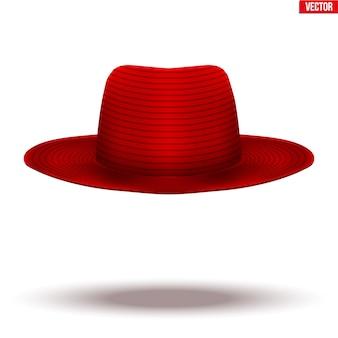 Chapeau rouge mary poppins sur fond blanc. symbole de nounou et baby-sitter.