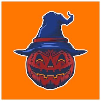 Chapeau rouge pumkin smailing isolé sur orange