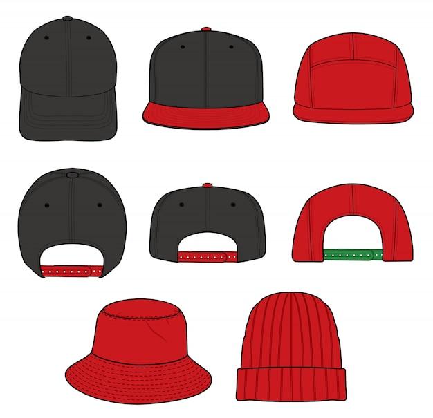 Chapeau set modèle vectoriel fashion flat sketche