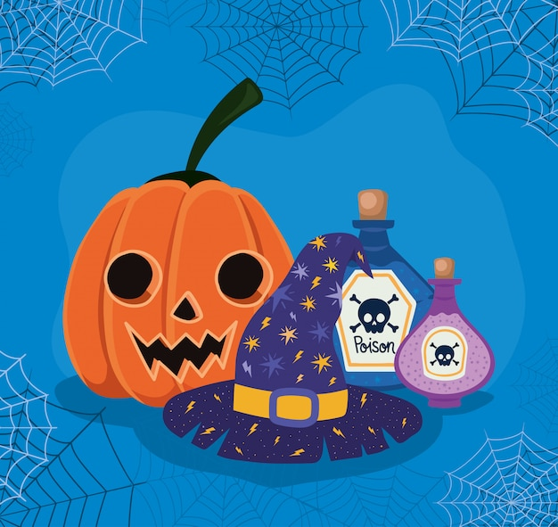 Chapeau de sorcière de dessin animé de citrouille d'halloween et poisons avec conception de cadre de toiles d'araignée, thème de vacances et effrayant