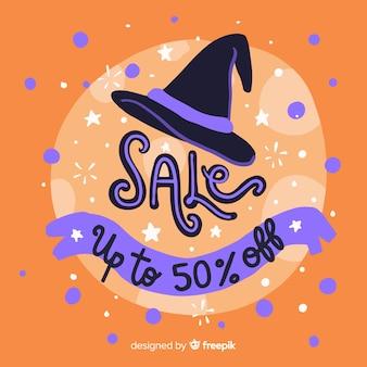 Chapeau de sorcière dessiné à la vente d'halloween