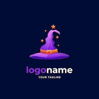 Chapeau de sorcière entouré d'étoiles logo style dégradé pour halloween symbole mal costume baguette logo magique entreprise