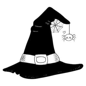 Chapeau de sorcière halloween avec illustration d'araignée