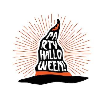 Chapeau de sorcière avec lettrage party halloween