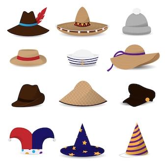 Chapeaux casquettes icônes colorées plates